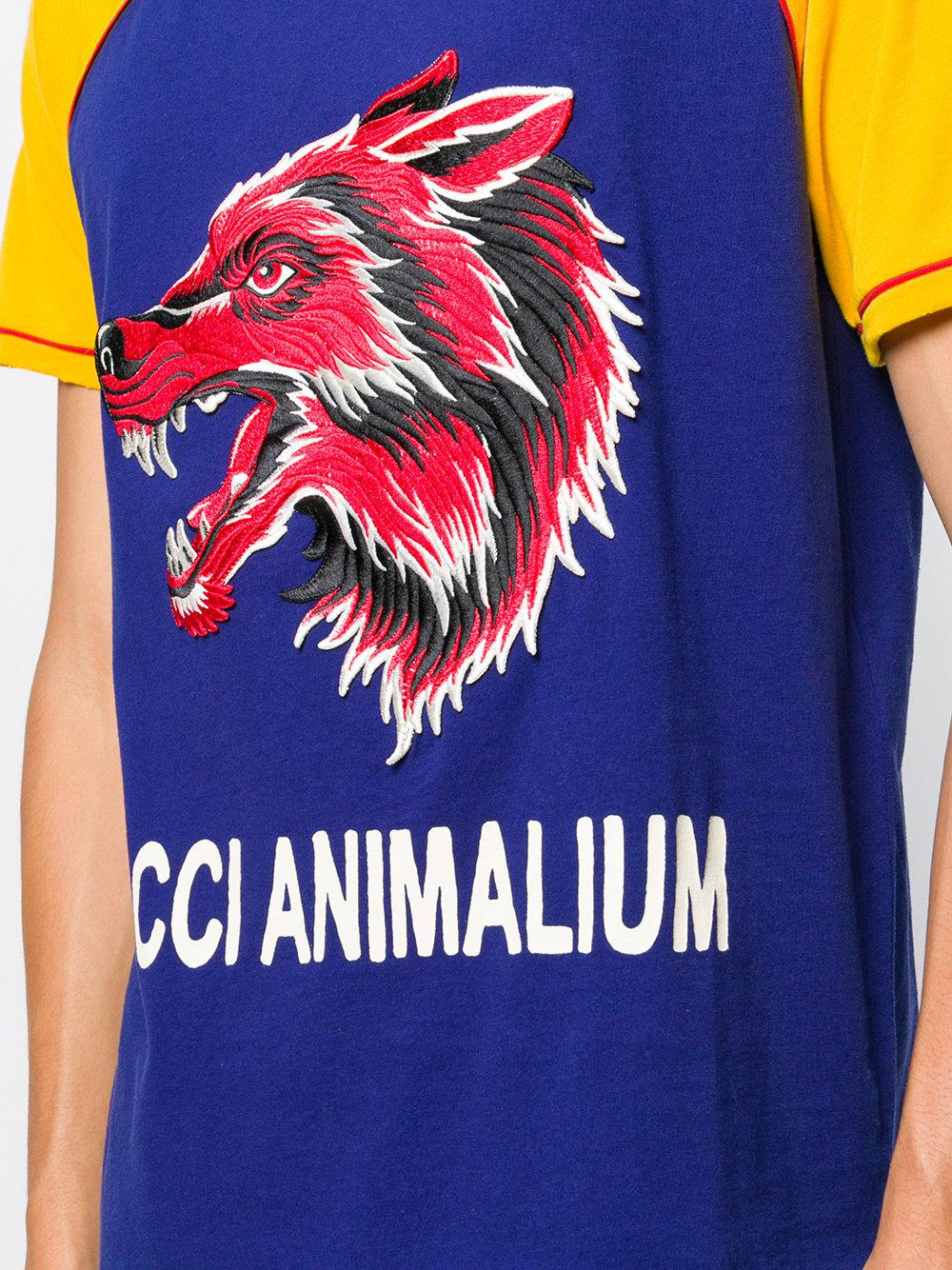 60c737badaa Lyst - Gucci Animalium T-shirt in Blue for Men