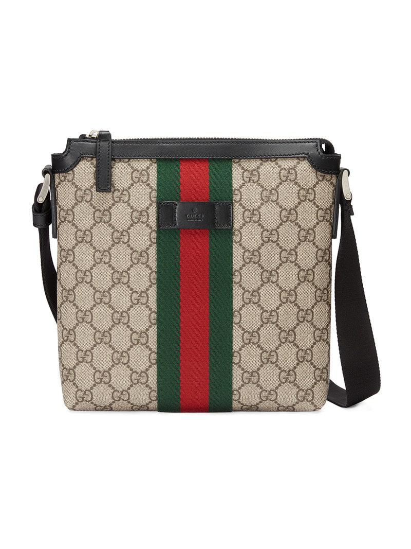 108a2c90aef Gucci Web GG Supreme Flat Messenger Bag for Men - Save 18% - Lyst