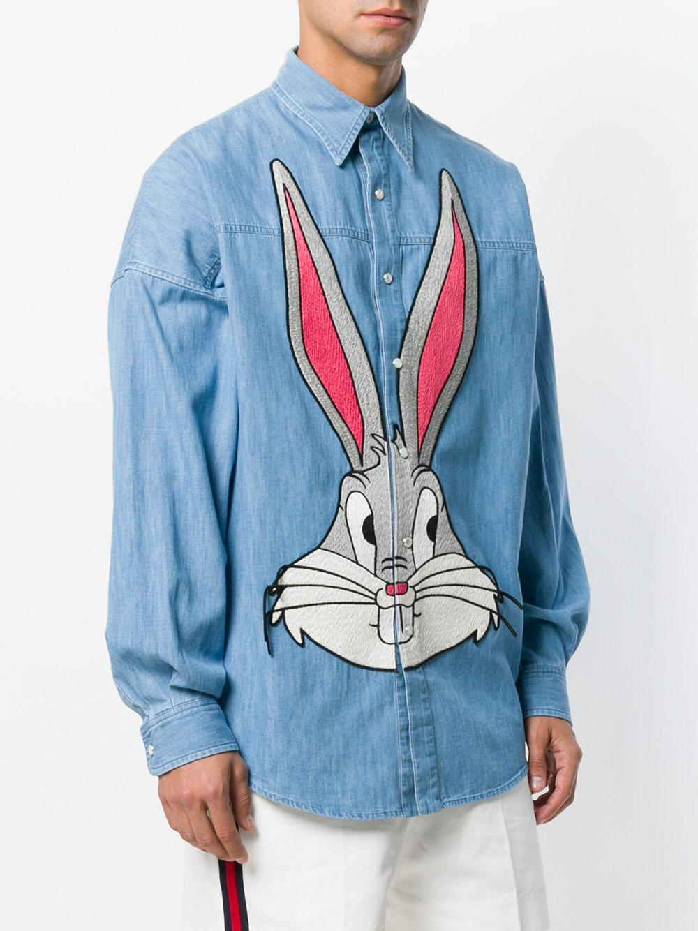 53d7a92fe5d Lyst - Gucci Bugs Bunny Denim Short in Blue for Men