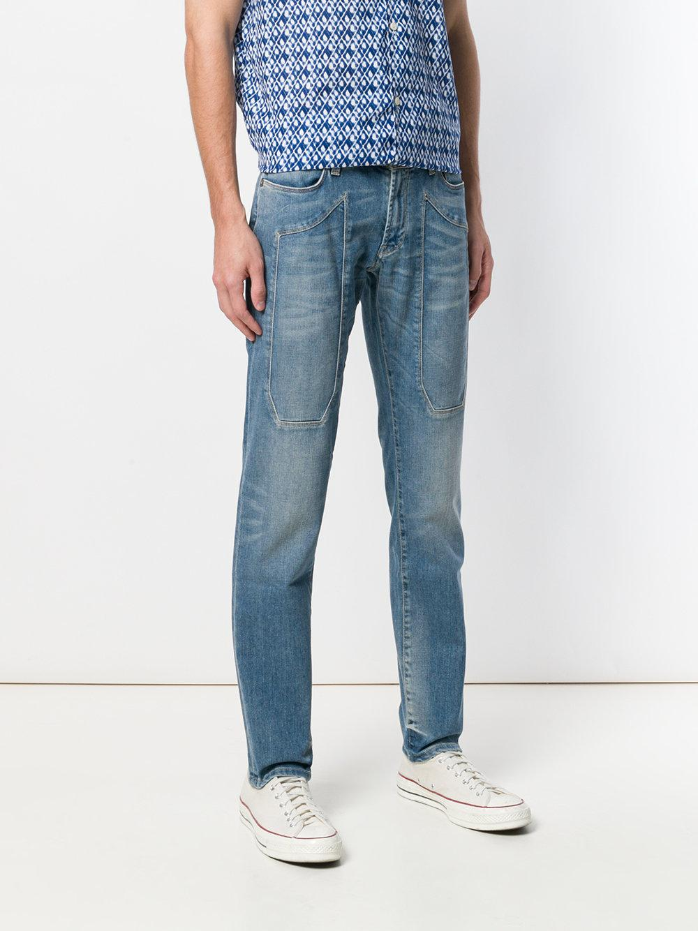 patch detail straight leg jeans - Blue Jeckerson xyxMyM