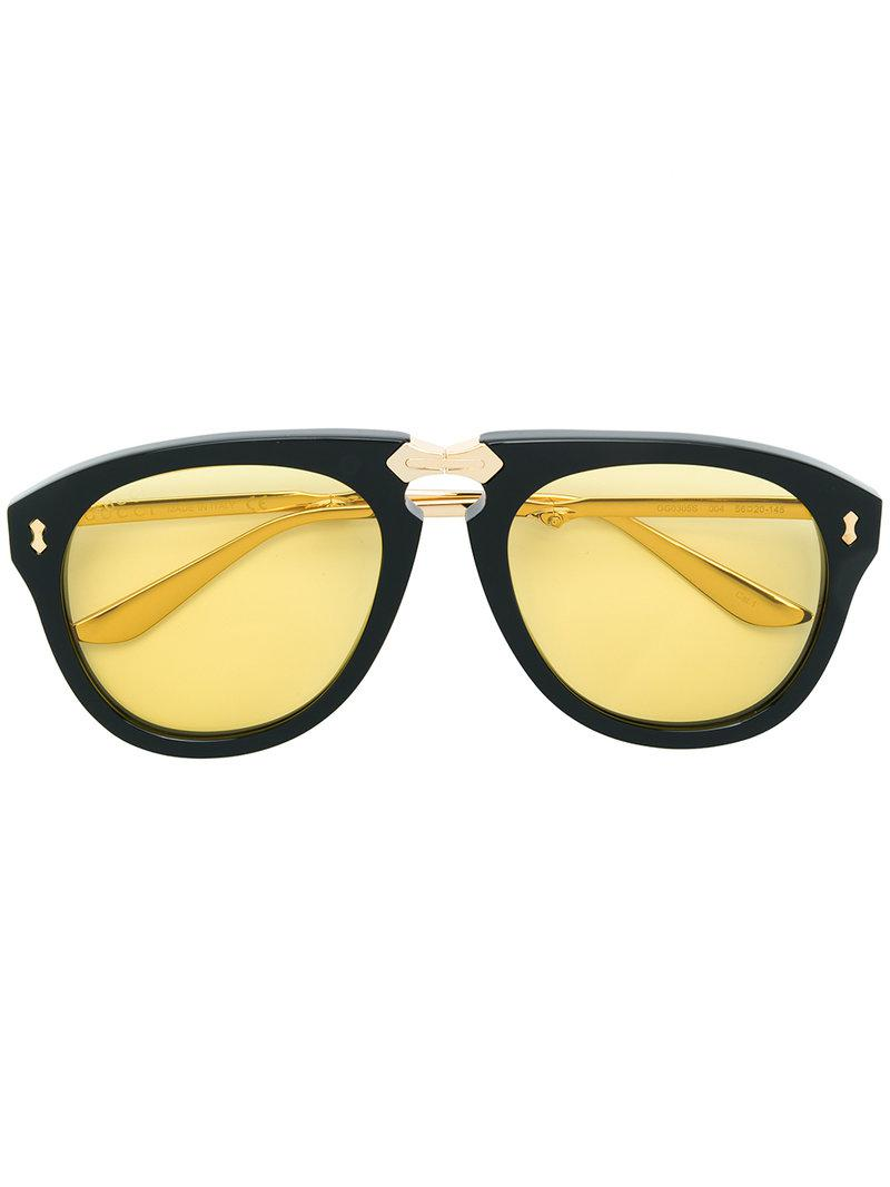 6f10af2660 Gucci Round Frame Foldable Sunglasses in Black - Lyst