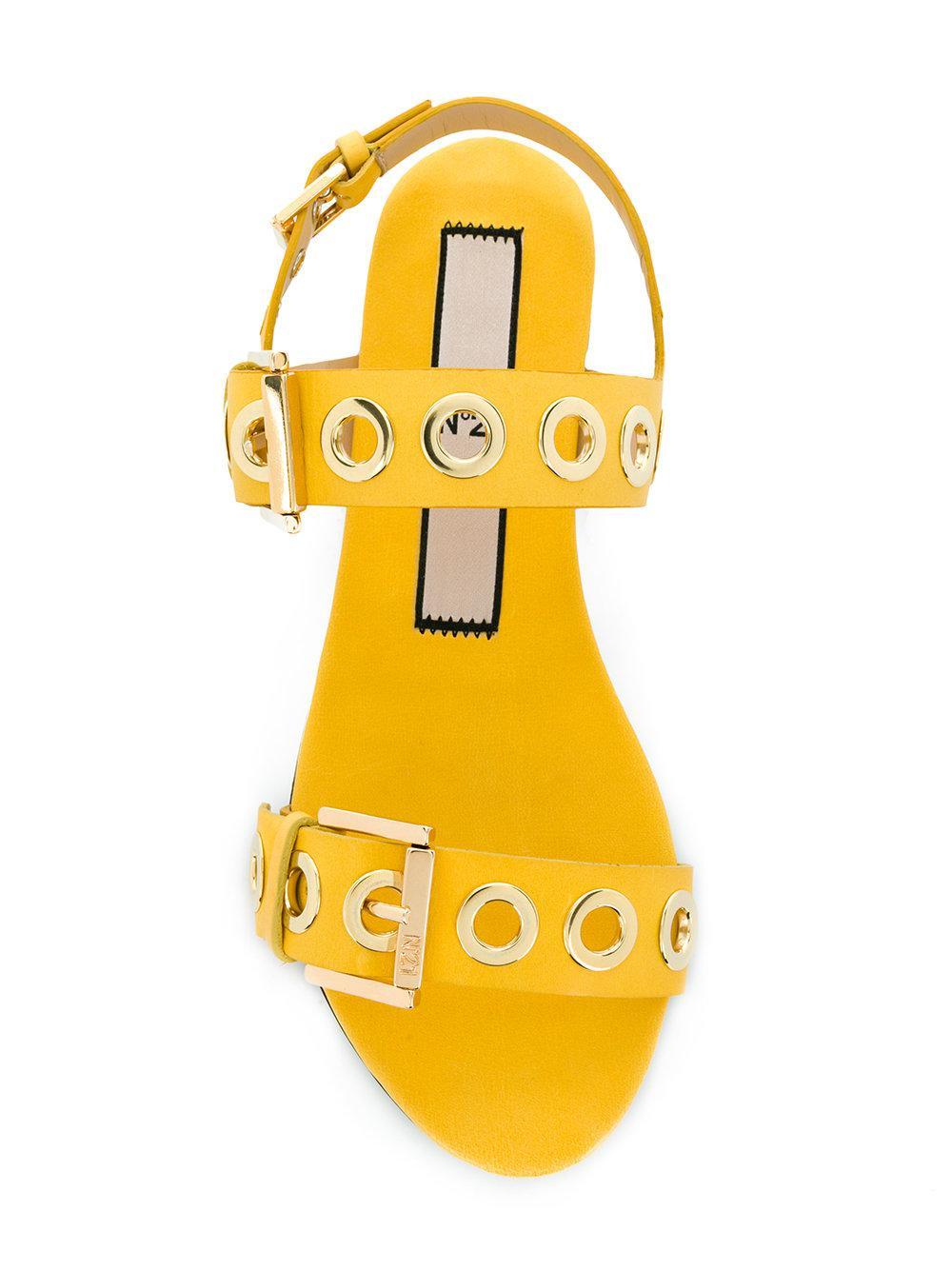 rivet detail sandals - Yellow & Orange N Dl0w6