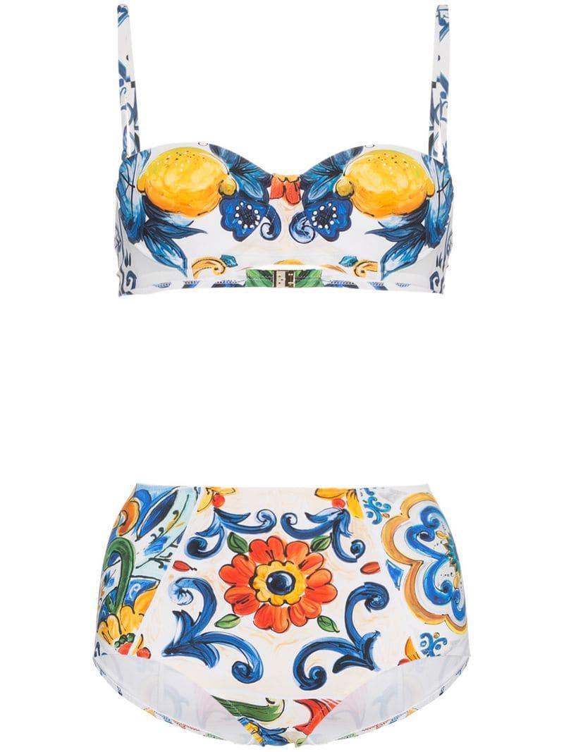e360211a8b Dolce   Gabbana High Waisted Majolica Print Bikini in White - Save ...