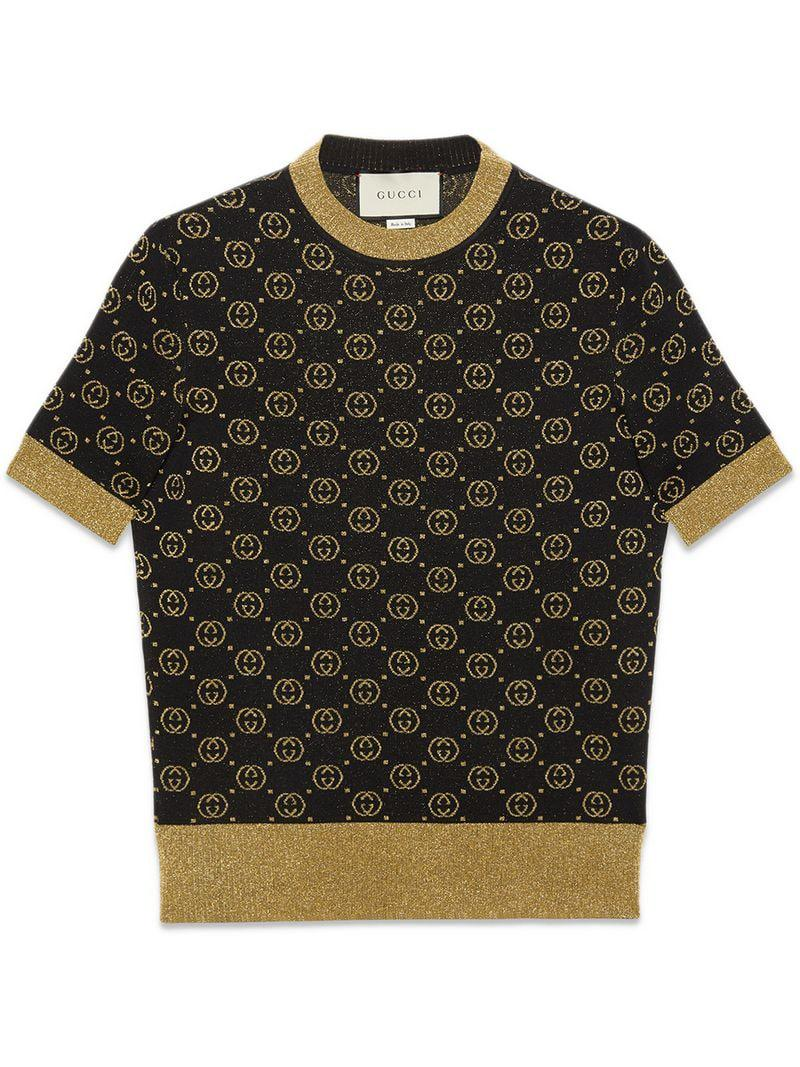 90770305f4dcba Gucci Women s Fine Wool Knit GG Lurex Sweater - Black Gold - Size ...