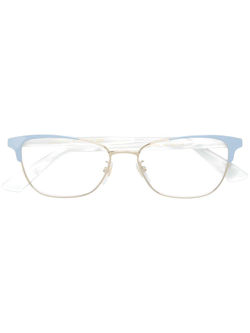 2c093f43869 Gucci Cat Eye Glasses in Metallic - Lyst