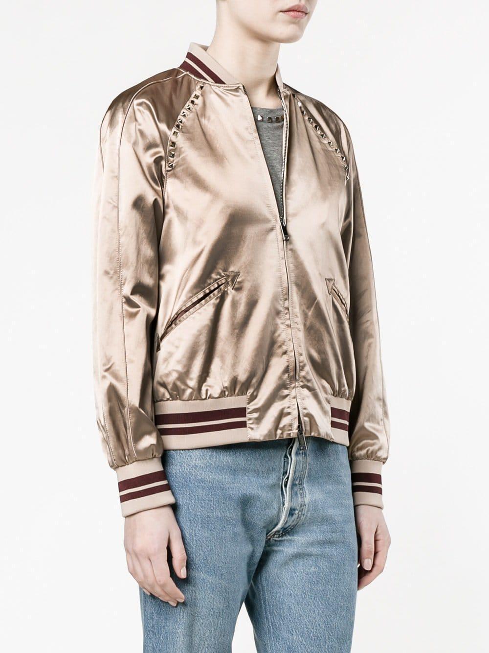 Bomber In Rockstud Valentino Jacket Lyst Pink iOXTkZPu