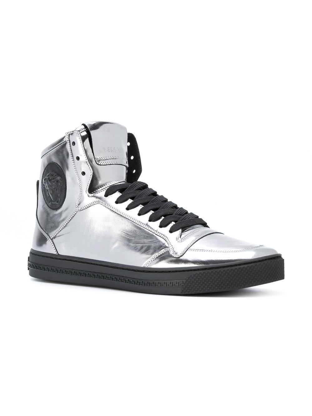 83c18641ea8 Lyst - Versace Medusa Palazzo High-top Sneakers in Metallic for Men