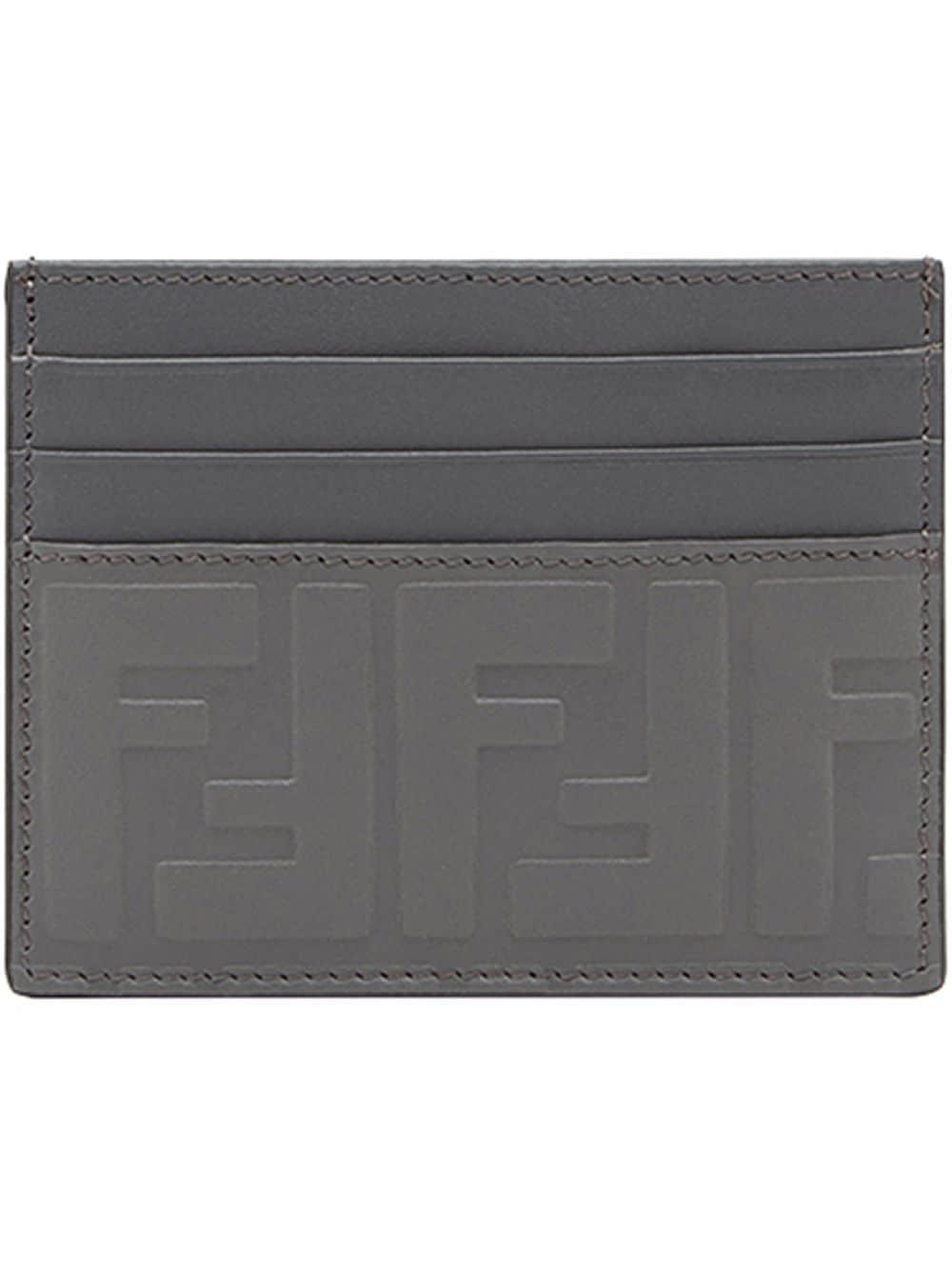 71b435e9e653 Lyst - Fendi Embossed Ff Card Holder in Gray for Men