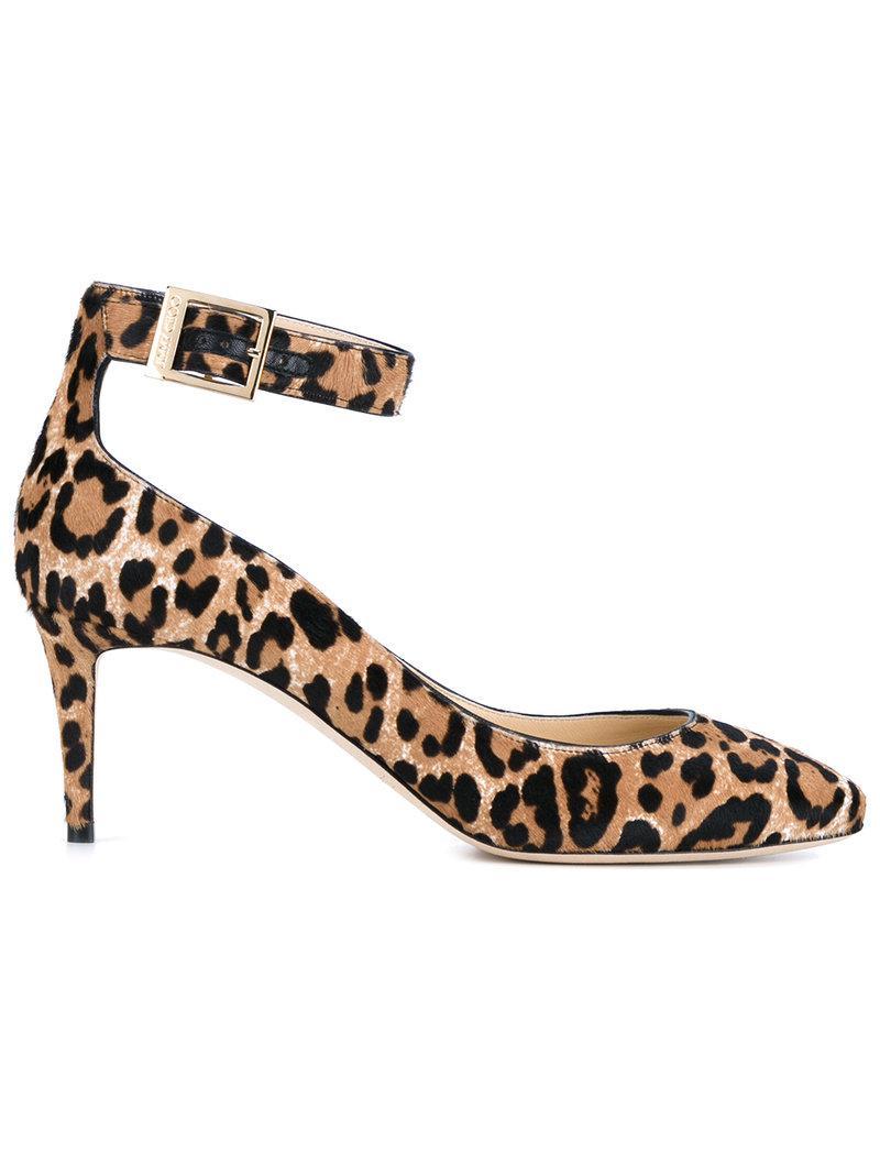 Jimmy Choo. Women's Natural Helena 65 Leopard Print Calf Hair Pumps