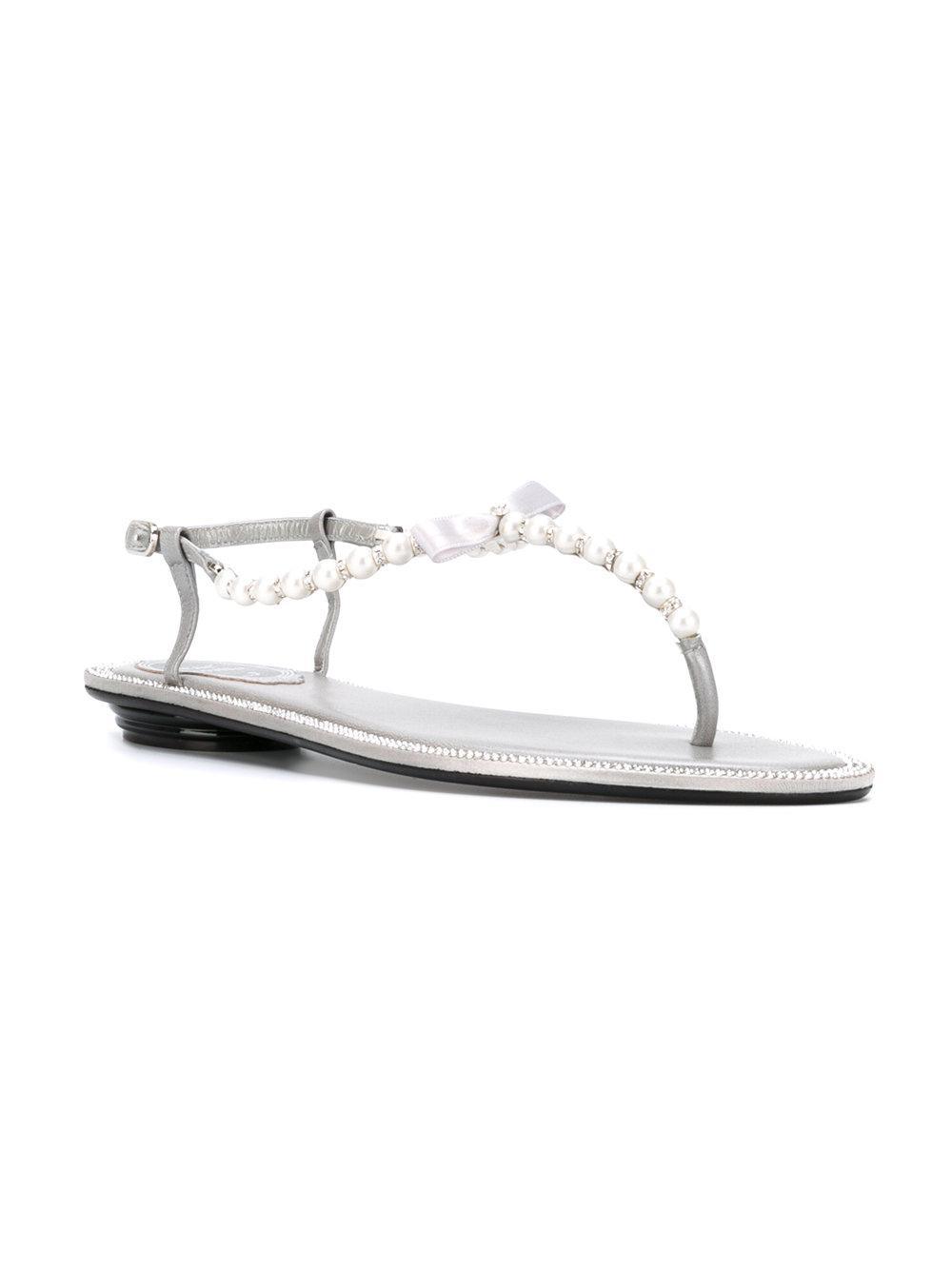 b3e36924e Rene Caovilla T-bar Flat Sandals in Metallic - Lyst