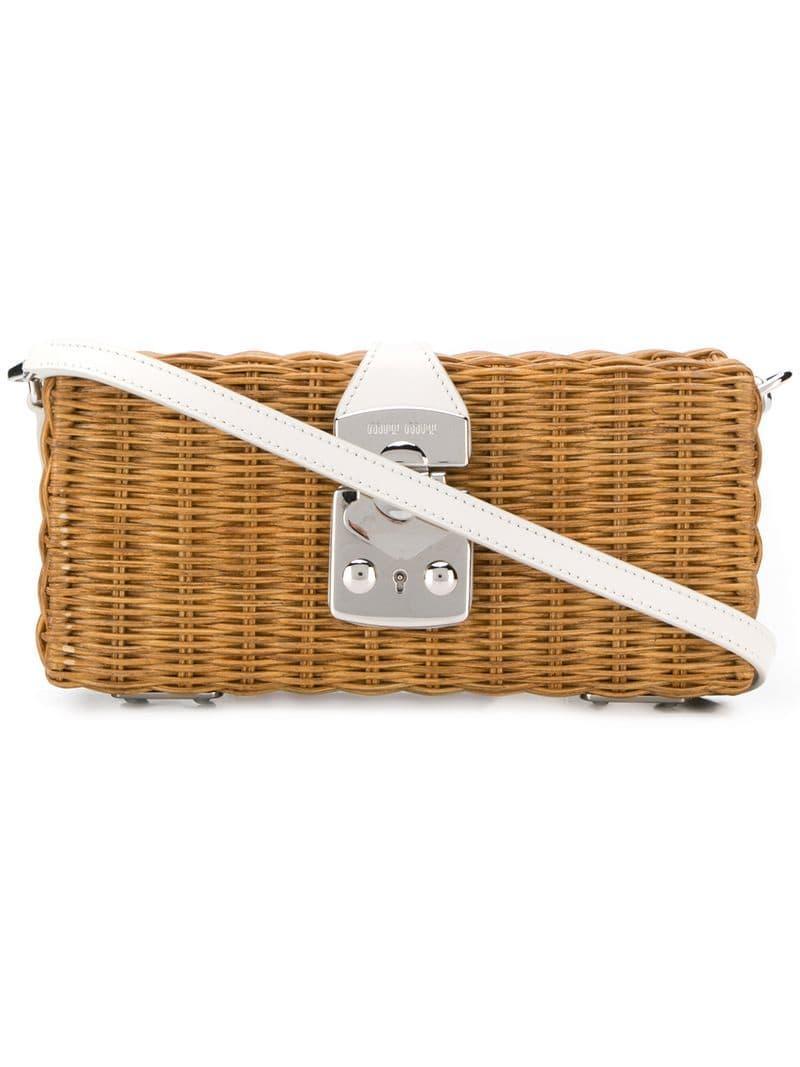94faa0d640c4 Lyst - Miu Miu Woven Basket Shoulder Bag in Brown