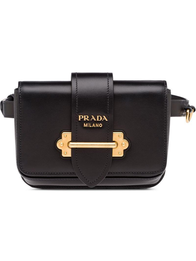 c58dcac0cd82d8 Prada Cahier Belt Bag in Black - Lyst