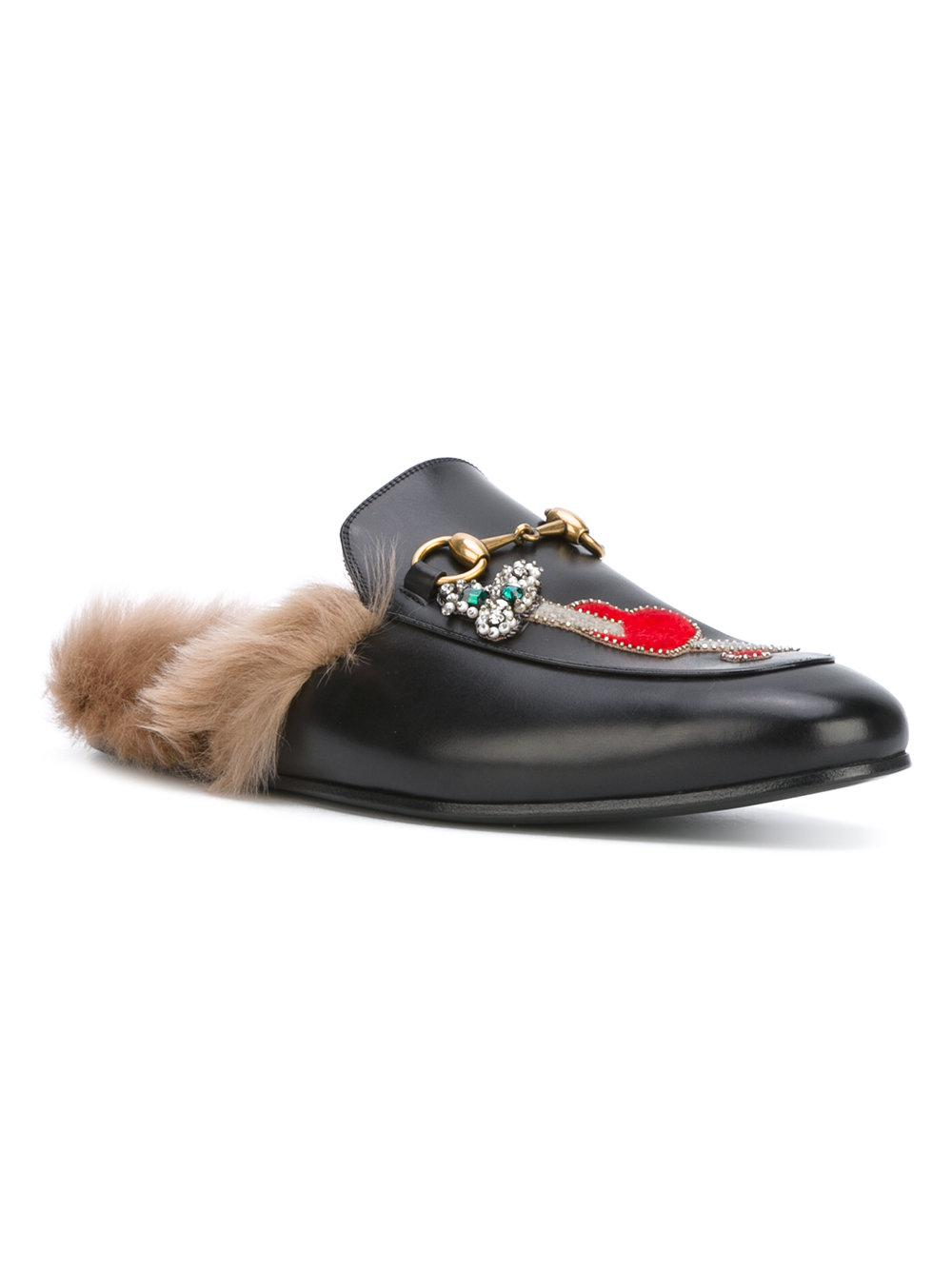 571db04112a Gucci Appliqué Princetown Slippers in Black for Men - Save 34% - Lyst