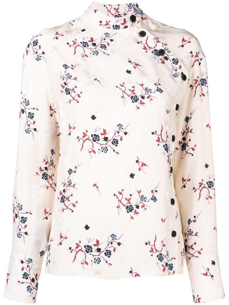 b2df2e89bff78 KENZO  cheongsam Flower  Blouse in Natural - Lyst