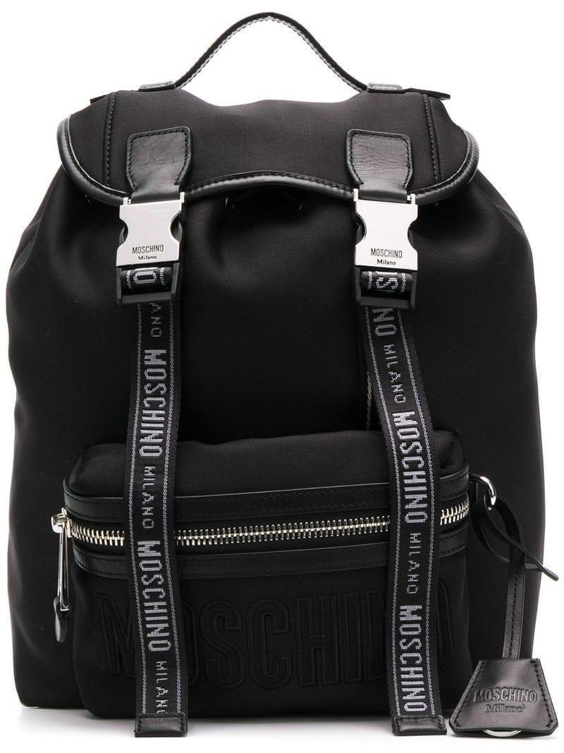0e69baa348d Moschino - Black Logo Backpack - Lyst. View fullscreen