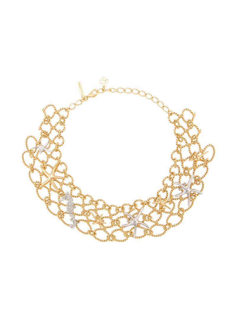 Oscar De La Renta fishnet star fish necklace - Yellow & Orange X9KEeXXwLL