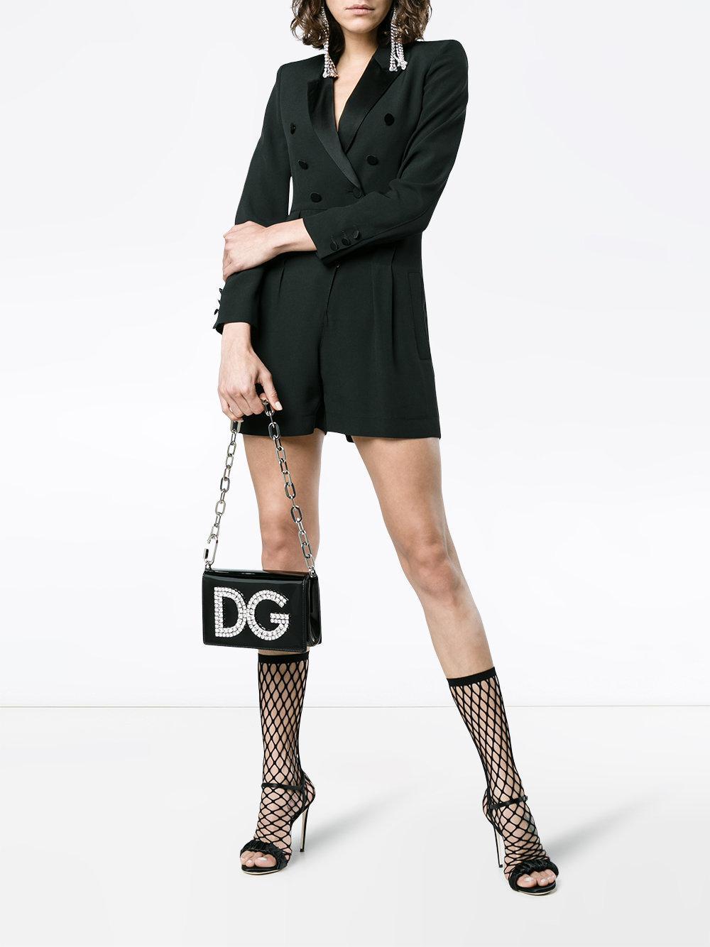 Strassé amp; À Logo Sac Épaule Lyst Gabbana En Plaque Dolce Porté pY6tx