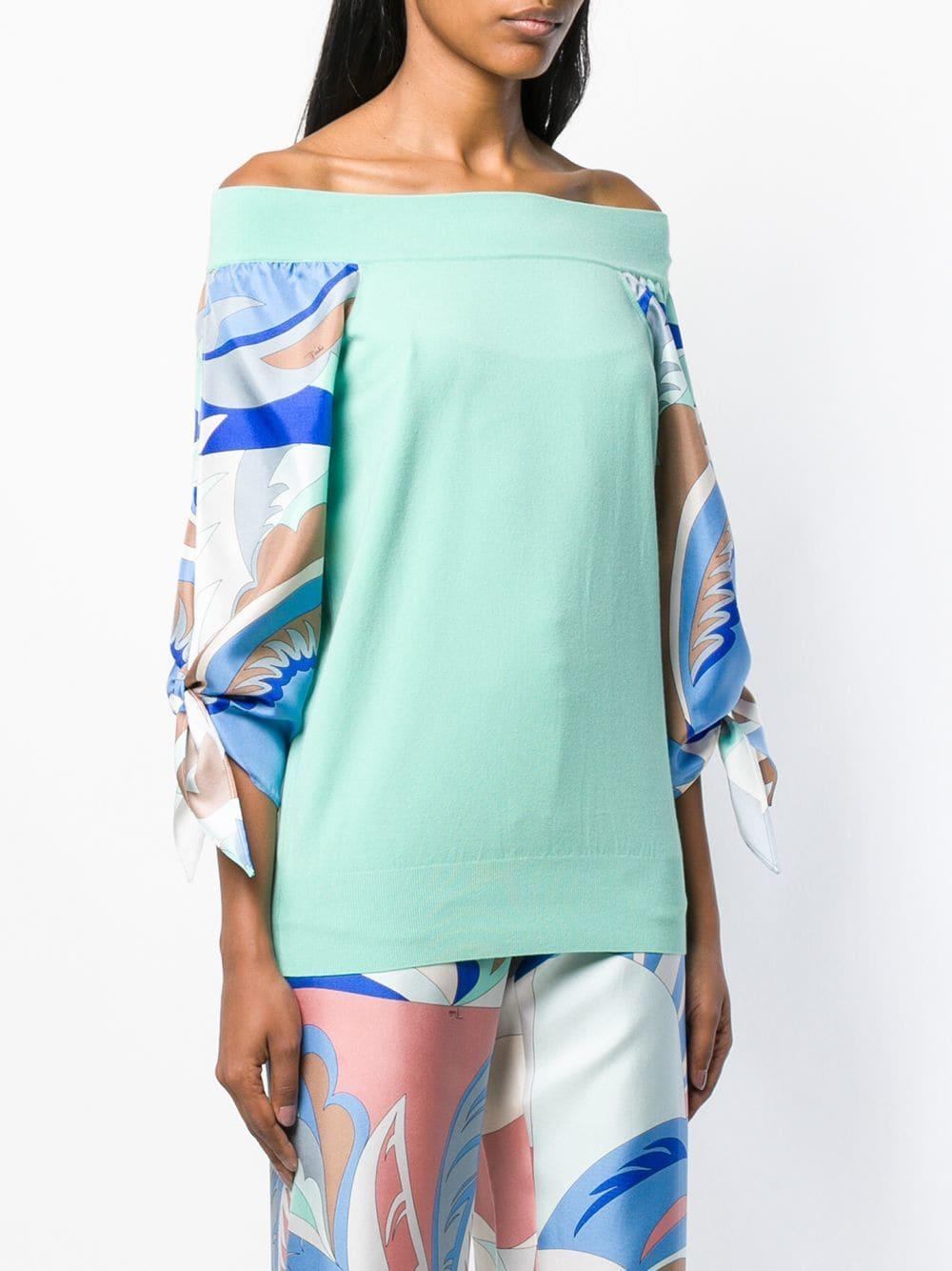 10beefa1d646 Emilio Pucci Silk-twill Sleeve Off Shoulder Jumper in Green - Lyst