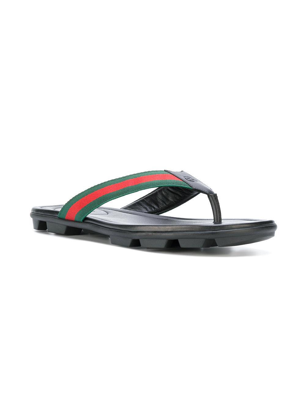 00a1188902efbf Gucci Web Trim Flip Flops in Black for Men - Save 13% - Lyst