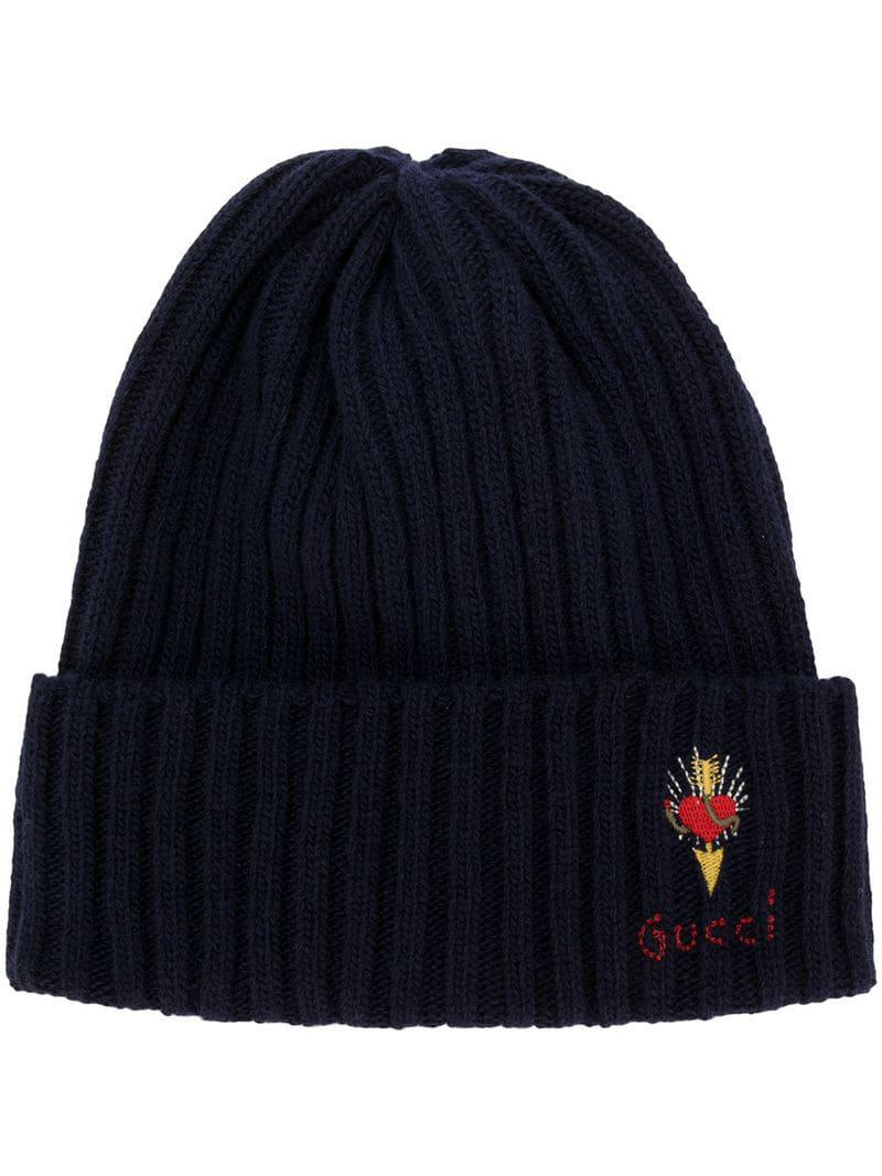 Gucci Wool Hat With Pierced Heart in Blue for Men - Lyst b4be907d7ea0