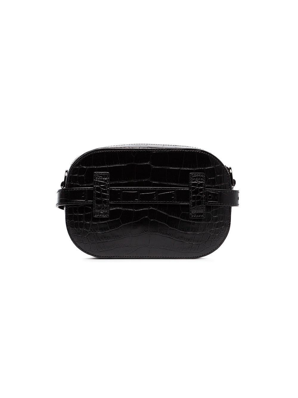09a3799778f4 Off-White c o Virgil Abloh - Black Crocodile Embossed Leather Camera Bag -.  View fullscreen