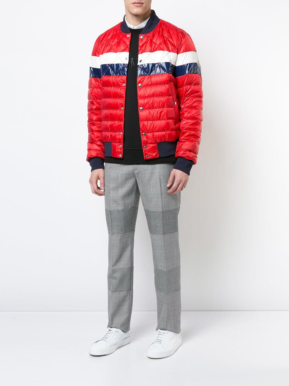 43be32d55b0d Lyst - Moncler Striped Padded Bomber Jacket in Red for Men - Save 31%
