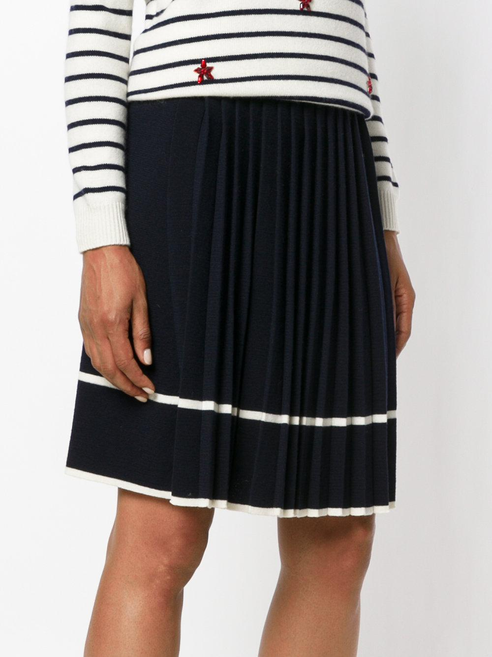 Shopping Online Free Shipping striped pleated skirt - Black Chinti and Parker Cheap Best Prices C6GBIgI