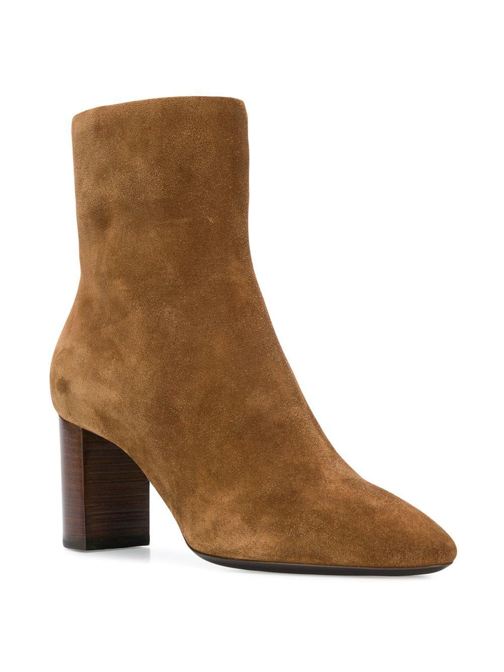 0c2da51f2db Lyst - Saint Laurent Almond Toe Ankle Boots in Brown