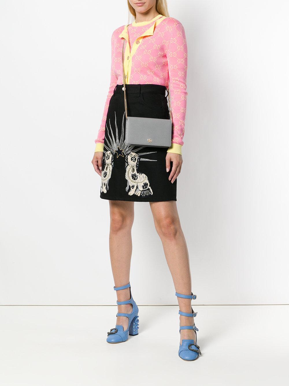 6406e3c333e Lyst - Gucci Gg Marmont Leather Mini Chain Bag in Gray