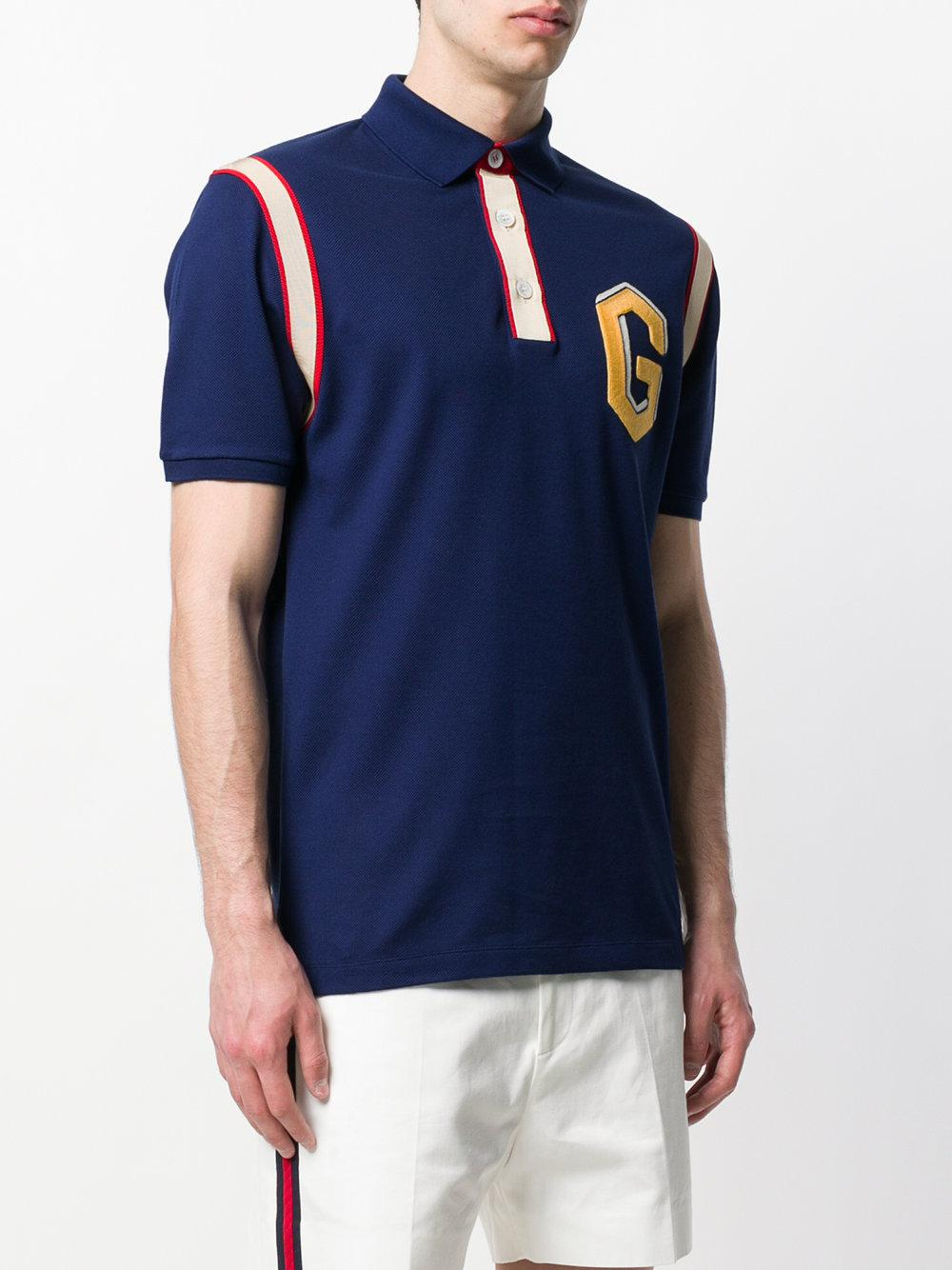 916e15d207b Gucci Embroidered Logo Polo Shirt in Blue for Men - Lyst