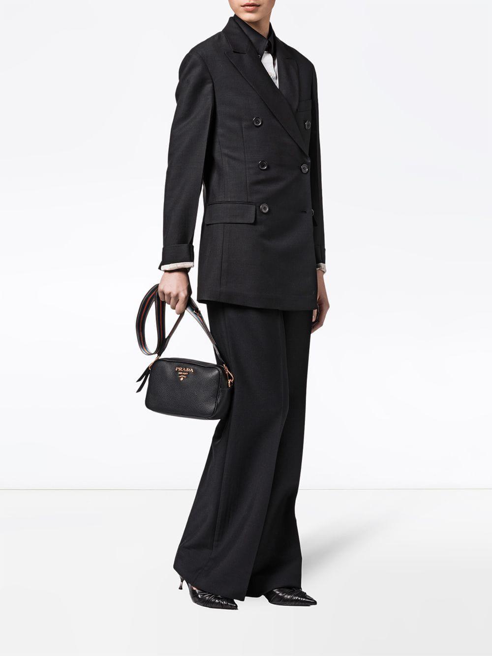 a0d3bd9b35fd Lyst - Prada Pebbled Shoulder Bag in Black - Save 13.664122137404576%