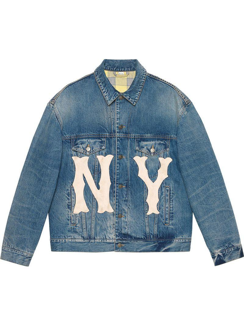 13b66a7be Gucci Denim Jacket With Ny Yankeestm Patch in Blue for Men - Lyst