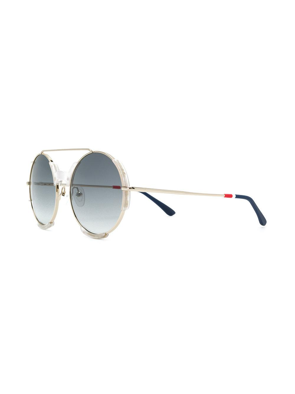 dafe159f50 Lyst - Orlebar Brown X Linda Farrow Round-frame Sunglasses in Metallic