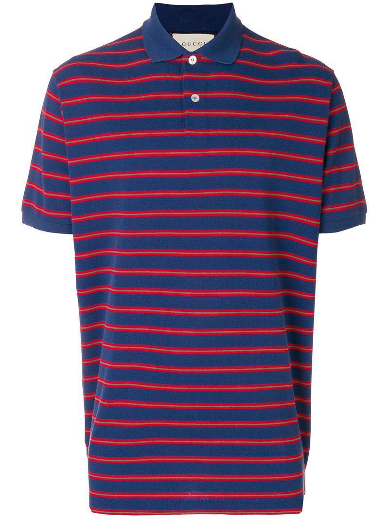7b08a9922332 Gucci - Blue Stonewashed Stripe Polo Shirt for Men - Lyst. View fullscreen