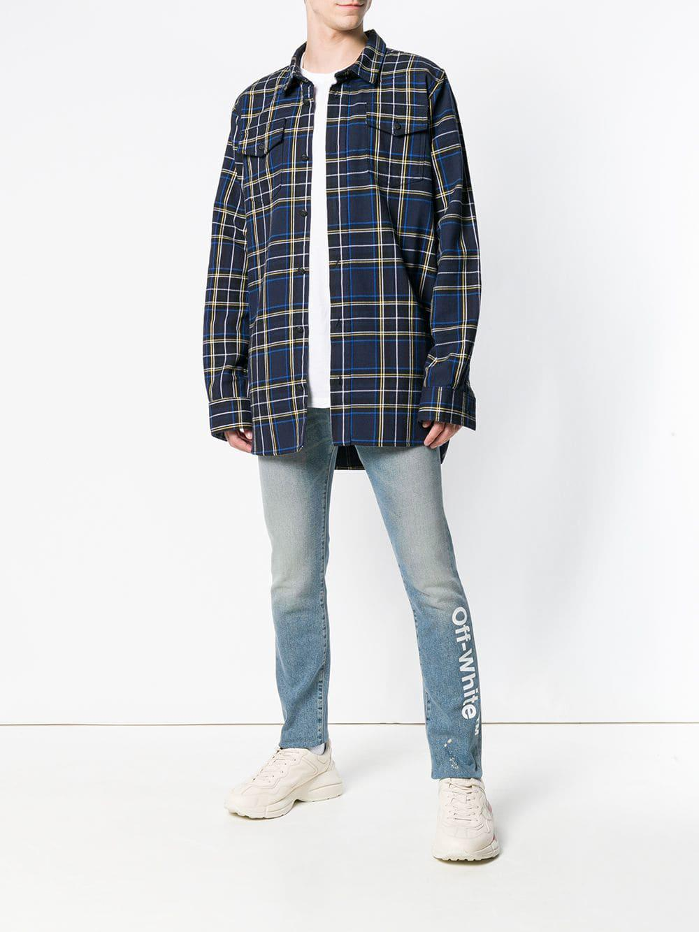 6f5731b73af Lyst - Off-White c o Virgil Abloh Logo Slim-fit Jeans in Blue for Men