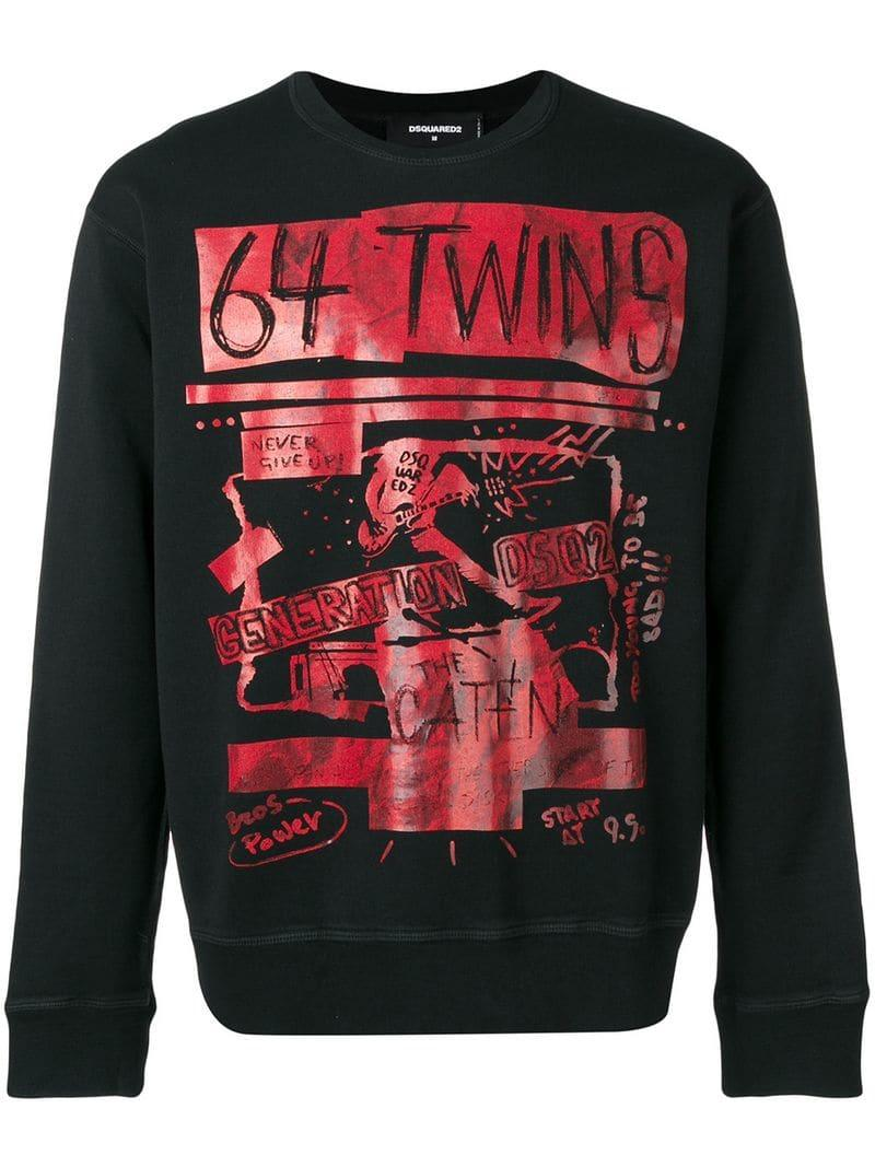 8bfc0662068 Lyst - DSquared² Printed  64 Twins  Sweatshirt in Black for Men