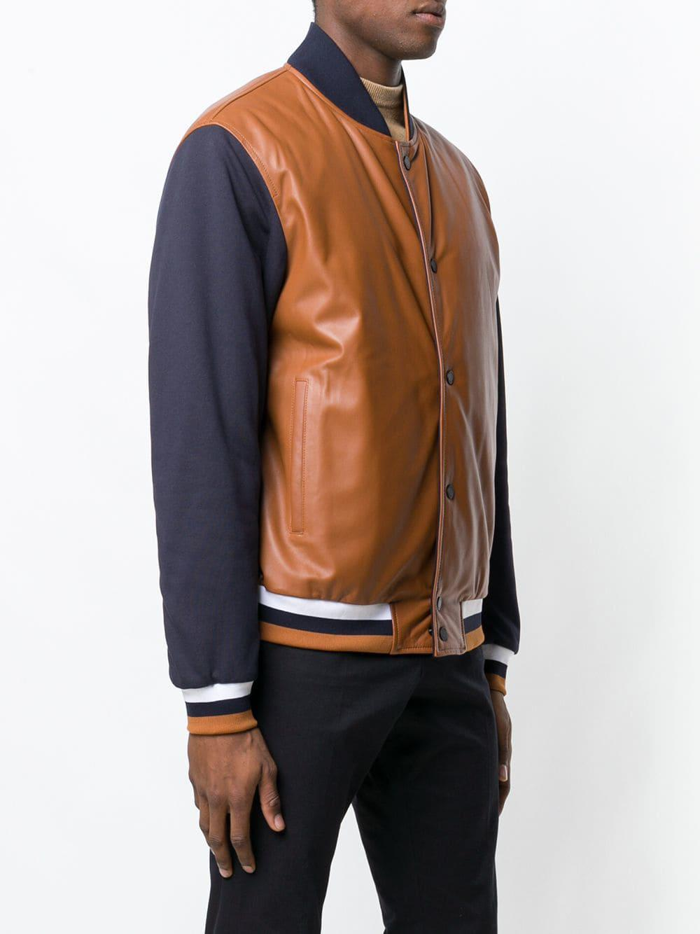 5871453f Men's Brown Two-tone Bomber Jacket