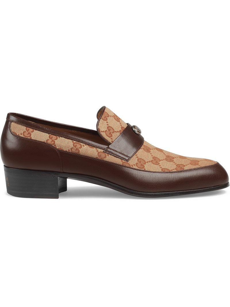 6b5793d041f Gucci Printed Monogrammed Coated-canvas And Leather Loafers in Brown ...