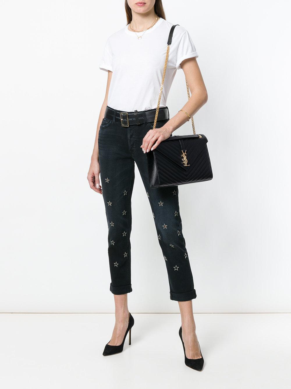 0e6a9464735f Lyst - Saint Laurent Large Envelope Grain De Poudre Chain Bag in Black