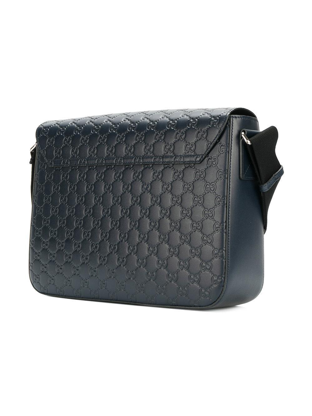 016cff802b2 Gucci Signature Messenger Bag in Blue for Men - Lyst