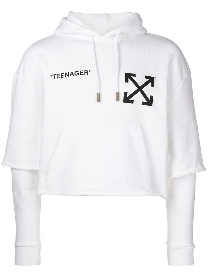 8f3d8b079b00 Lyst - Off-White c o Virgil Abloh Flamed Bart Hoodie In White With ...