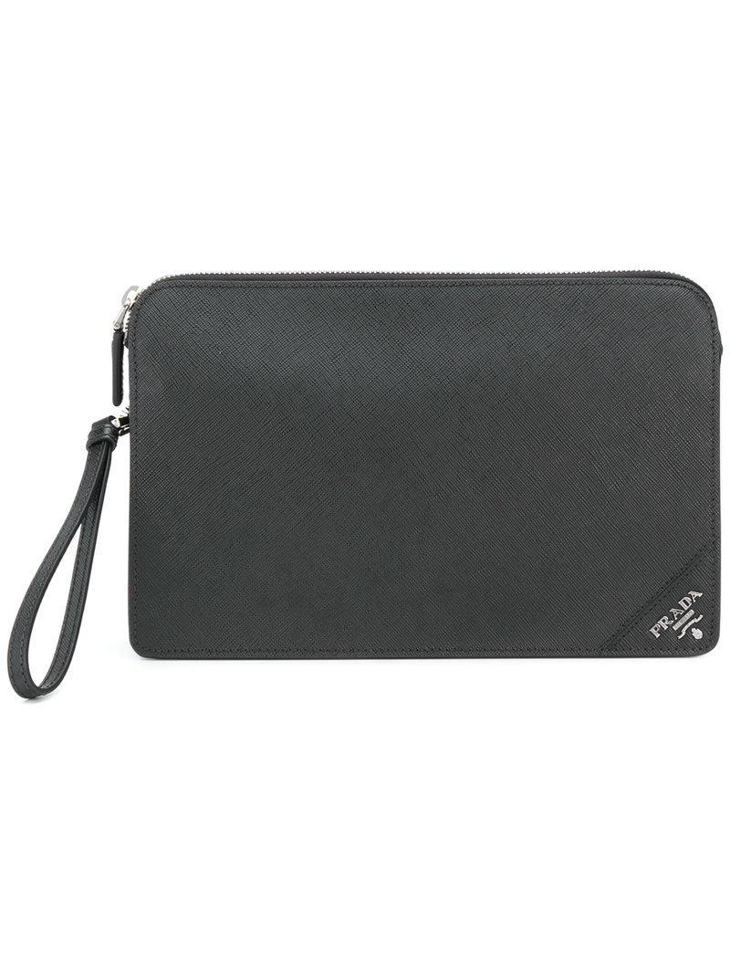... inexpensive prada black corner logo clutch bag for men lyst. view  fullscreen c19a1 3aa16 d2c5523926ad5