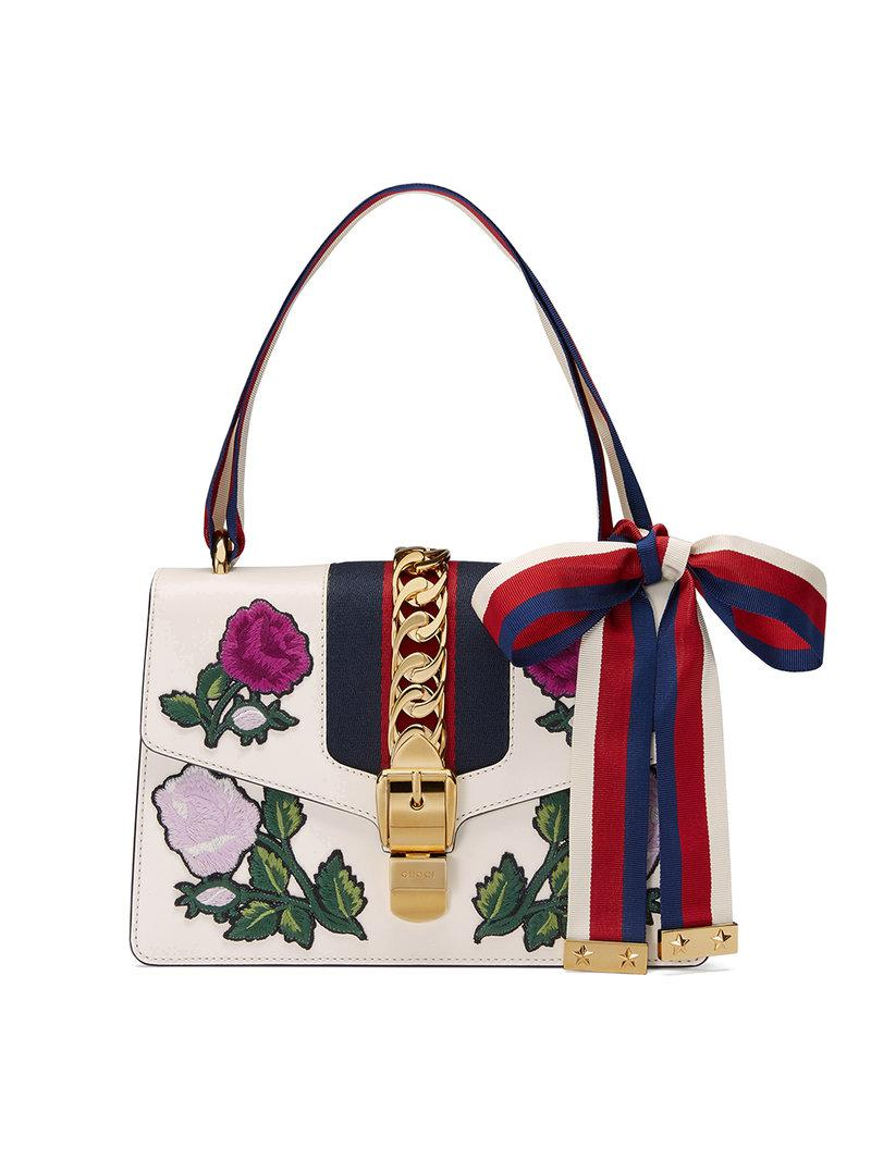 fcc4efbe9c8 Lyst - Gucci White Embroidered Sylvie Small Shoulder Bag in White ...