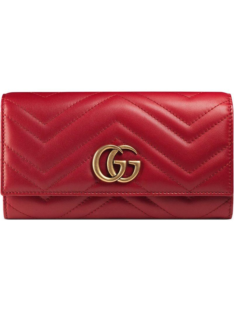 e84d8958f47f91 Lyst - Gucci GG Marmont Continental Wallet in Red - Save 31%