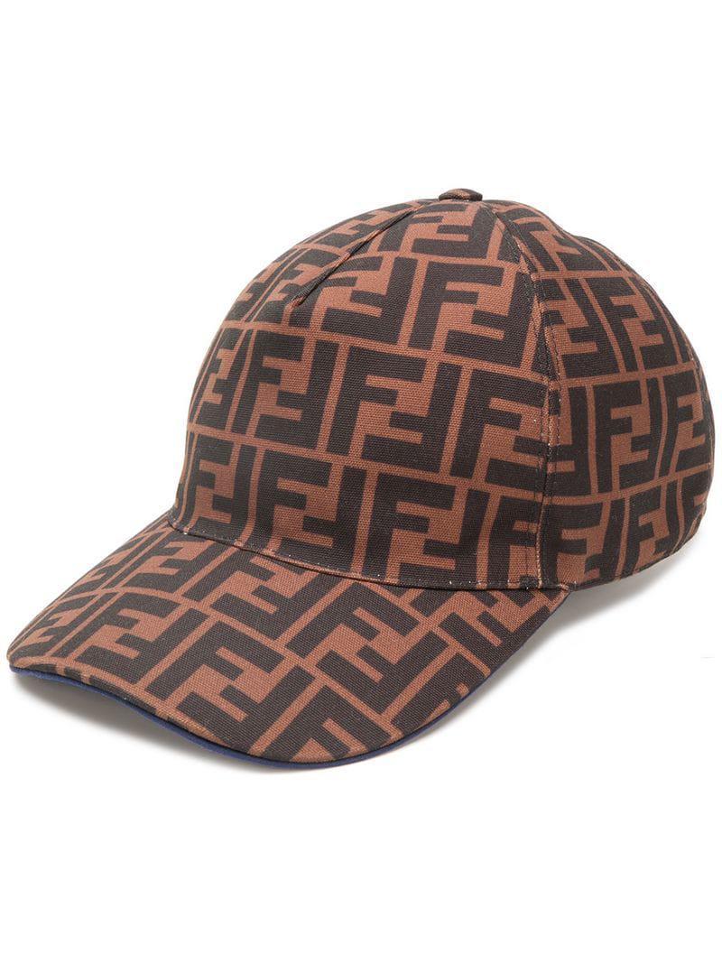 d5ac4f74fa21d0 Fendi Logo Baseball Cap in Brown for Men - Lyst