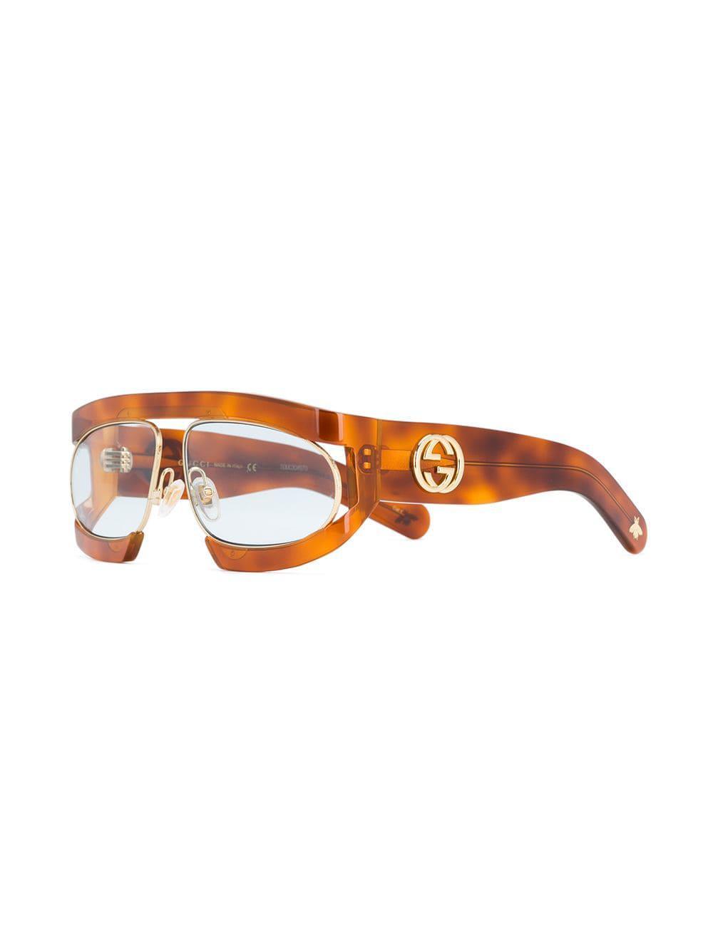 acd866a698 Gucci - Brown Tortoiseshell-effect Glasses - Lyst. View fullscreen