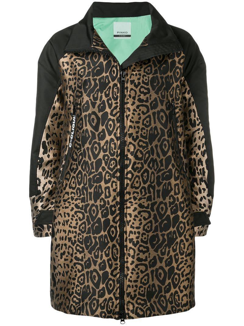 7420743f16 Pinko - Black Leopard Jacquard Zip-up Coat - Lyst. View fullscreen