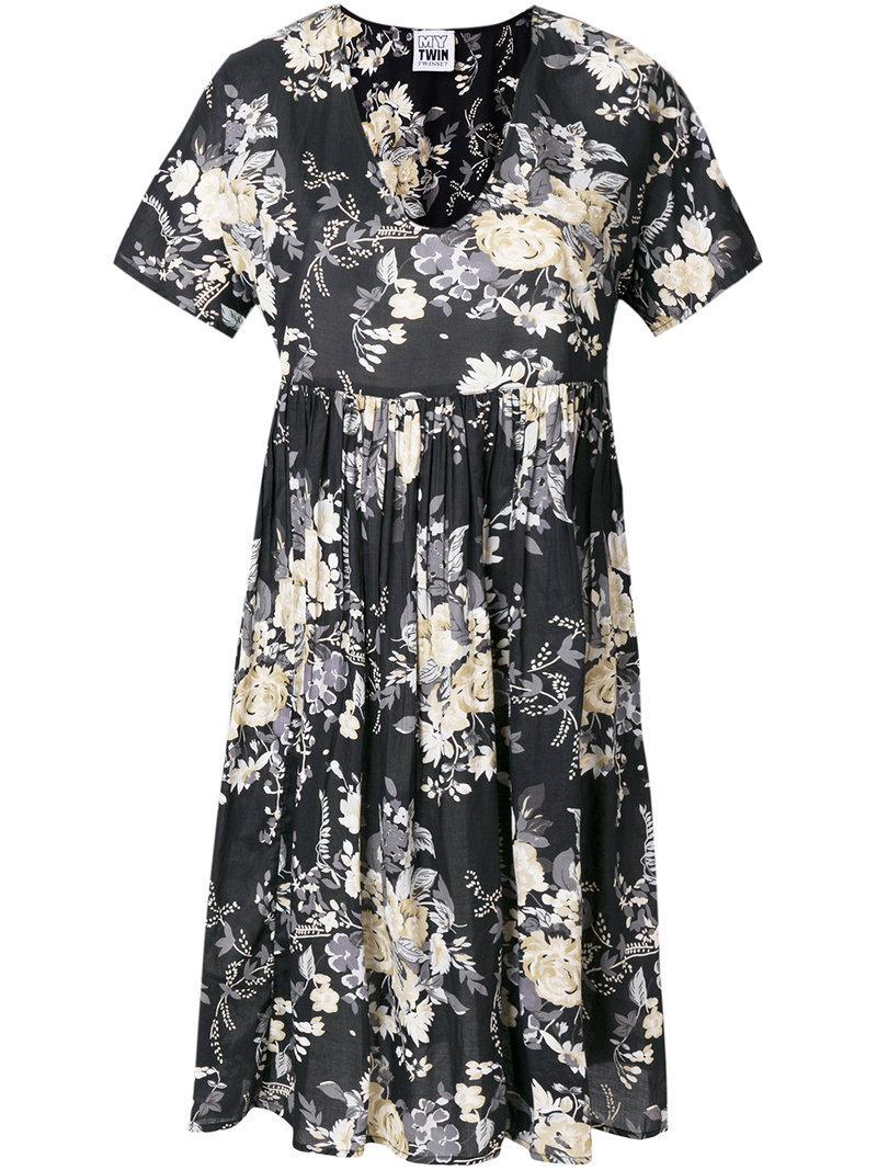 floral print flared dress - Blue Twin-Set noZAD9U