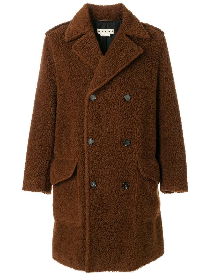 Marni Teddy Bear Double-breasted Coat in Brown for Men | Lyst