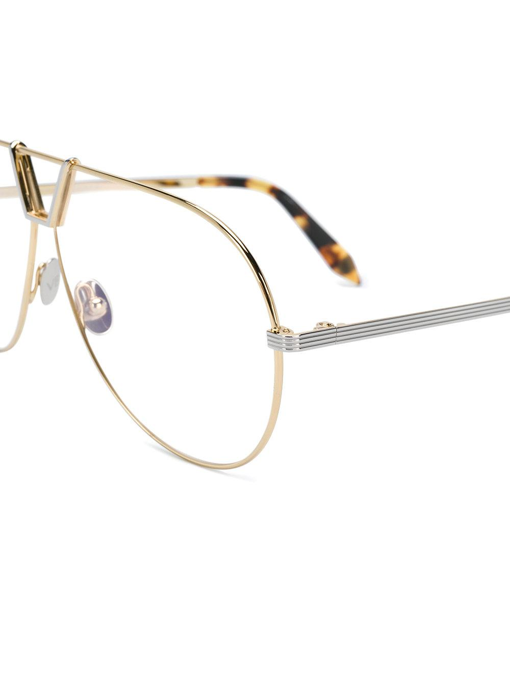 1f74d42d4e6 Victoria Beckham Aviator Shaped Glasses in Metallic - Lyst